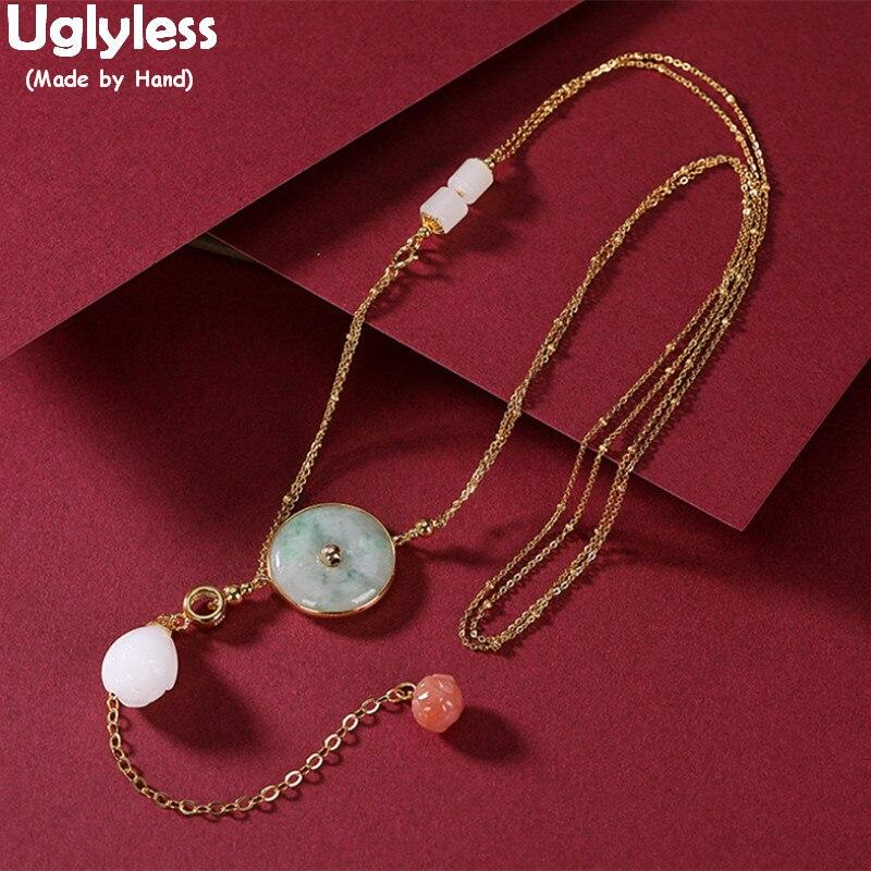 Uglyless cristal Lotus longs glands robe de soirée colliers pour femmes émeraude boutons pendentifs + 925 argent chaîne Magnolia bijou