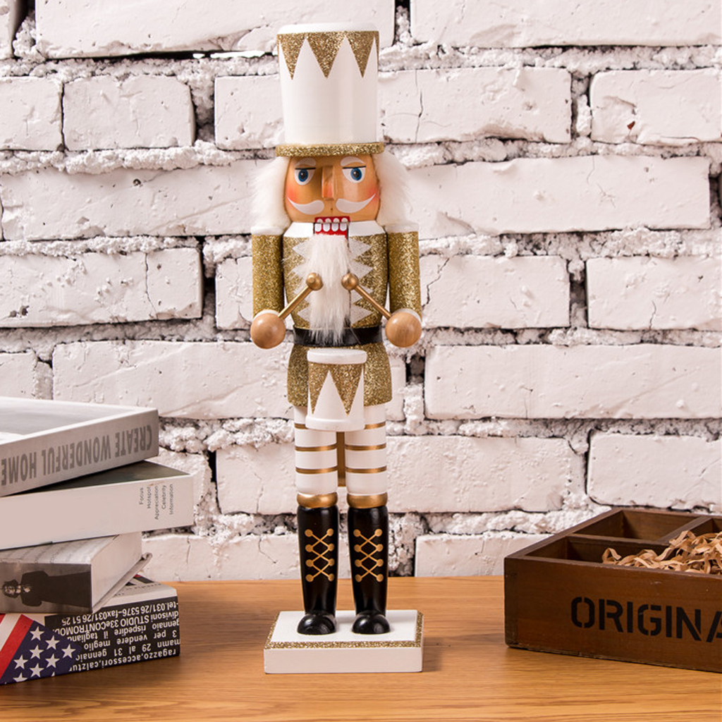Traditional Wooden Sequin Soldier Nutcracker With Gold And White Uniform Festive Christmas Decor 15 Tall Model Building Kits Aliexpress