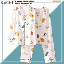 Caiyier Autumn Winter Women Pajama Sets Cotton Cute Lucky Cat Print Nightgown Long Sleeve Sleepwear With Eye Mask Homewear plus rabbit print button up pajama set with eye mask