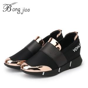 Image 1 - BANGJIAO 여성 캐주얼 로퍼 통기성 여름 플랫 신발 여성 슬립 캐주얼 신발 New Zapatillas Flats Shoes Size 35 40