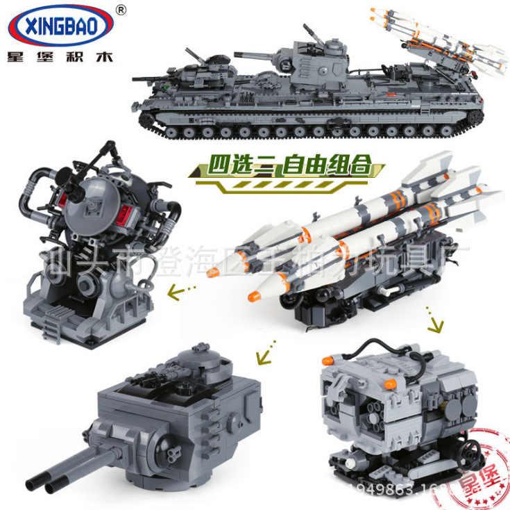 Xingbao 06006 tanques pesados da série militar KV-2 crianças tanque educacional inserido blocos de construção brinquedo