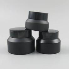 купить 10pcs 15g 30g 50g Empty Matte Black Jar Skin Care Cream Jar Small 1/2oz 1oz Glass Bottle Cosmetic Jar with black Lid screw cap по цене 1615.25 рублей