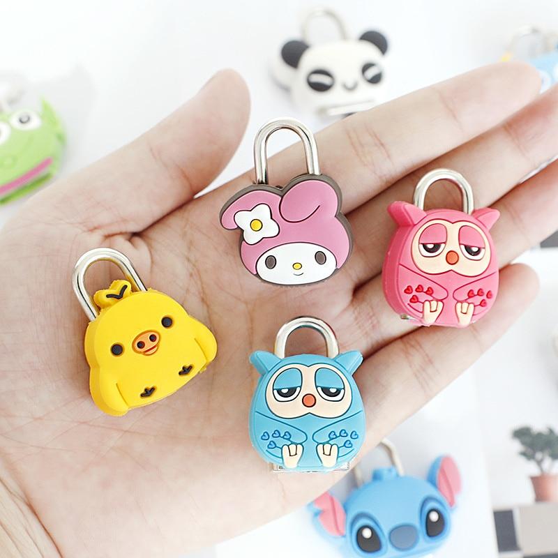 Cute Mini Key Lock Cartoon Silica Stainless Stationery Padlocks Luggage Locks Zipper Bag Backpack Drawer Small Box Lock Toys