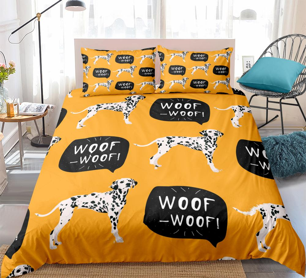 Spotted Dogs Duvet Cover Set Dalmatians Bedding Kids Black White Dogs Woof-Woof Cartoon Pet Quilt Cover Yellow Brown Dropship
