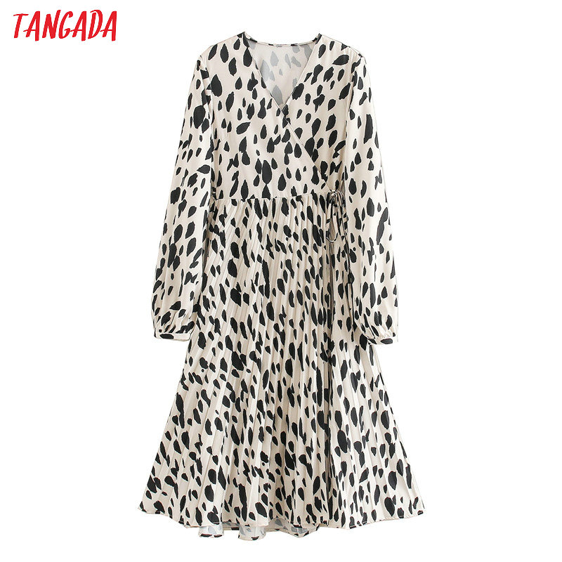 Tangada Korean Fashion Women Leopard Print Pleated Dress 2020 New Long Sleeve Ladies V Neck Midi Dress Vestidos XN281