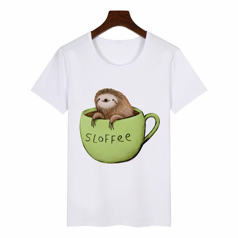 2019 New Summer Women's T-Shirt Sloffee Sloth Coffee Graphic Tees Women Harajuku T-Shirt Anime Female Tops Aesthetic Clothes