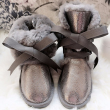 Winter Boots Shoes Genuine-Sheepskin-Leather Waterproof Fashion Top Fur Wool Non-Slip
