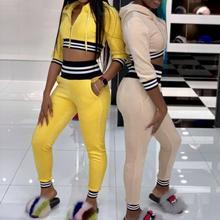 Fashion Women Ladies Striped Tracksuit Hoodies Sweatshirt 2pcs Zipper Crop Tops Pants Tracksuits Casual Wear Suits jogger set цена 2017