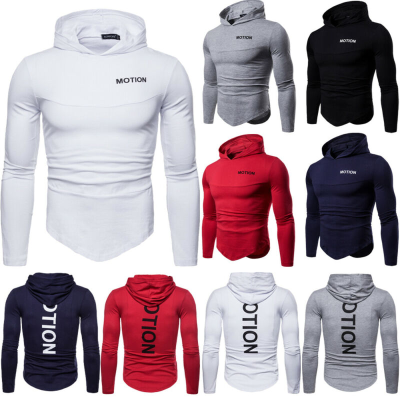 Casual Basic Hoodie Hooded Muscle T-shirt Shirts Slim Long Sleeve Men/'s Fit Tops