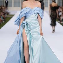 Ральф Руссо сексуальное вечернее платье с открытыми плечами Драпированный Лиф Высокий разрез тафта Вечернее платье