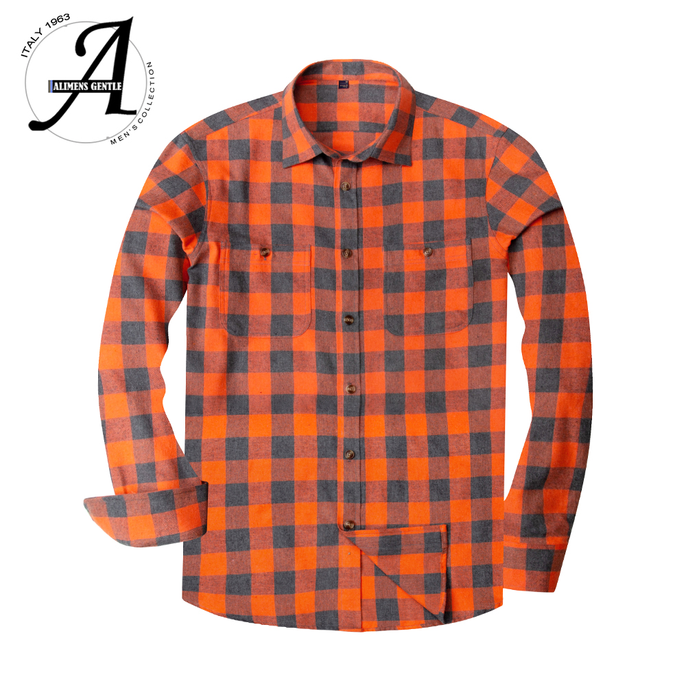 Flannel Plaid Shirt Men Casual Long Sleeve High Cotton Fashion Male Shirts Chemise Homme Camisa Social Masculina