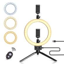 Светодиодный осветитель для фотостудии, светильник в форме кольца, с регулируемой яркостью, со штативом и держателем телефона, для съемки Youtube, макияжа, селфи