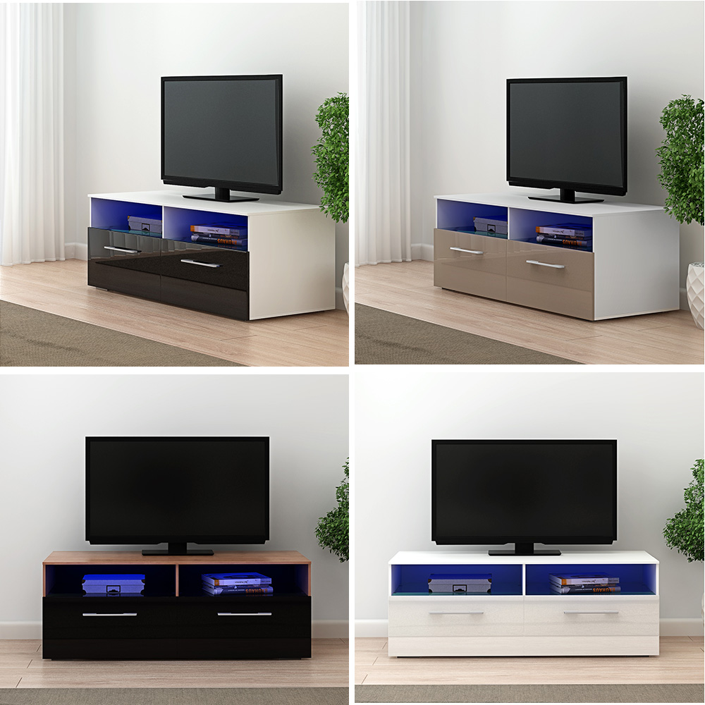 Pananan Modern 100cm TV Stand Cabinet Unit Lowboard Entertainment Media FREE RGB LED Lighting Fast Delivery