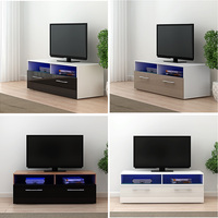 Pananan Modern TV Stand Cabinet Unit Lowboard Entertainment Media FREE RGB LED Lighting Fast delivery