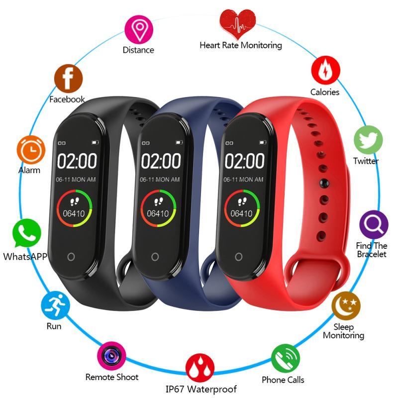 M4 Smart Bracelet Waterproof Pedometer Monitor Sports Heart Rate Monitor Counter Walking Fitness Wrist Band Watch Wristband