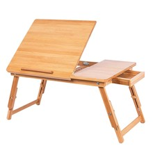 Laptop Stand Natural Bamboo Foldable Breakfast Serving Bed Tray Lap Desk with Tilting Top and Side Drawer(China)
