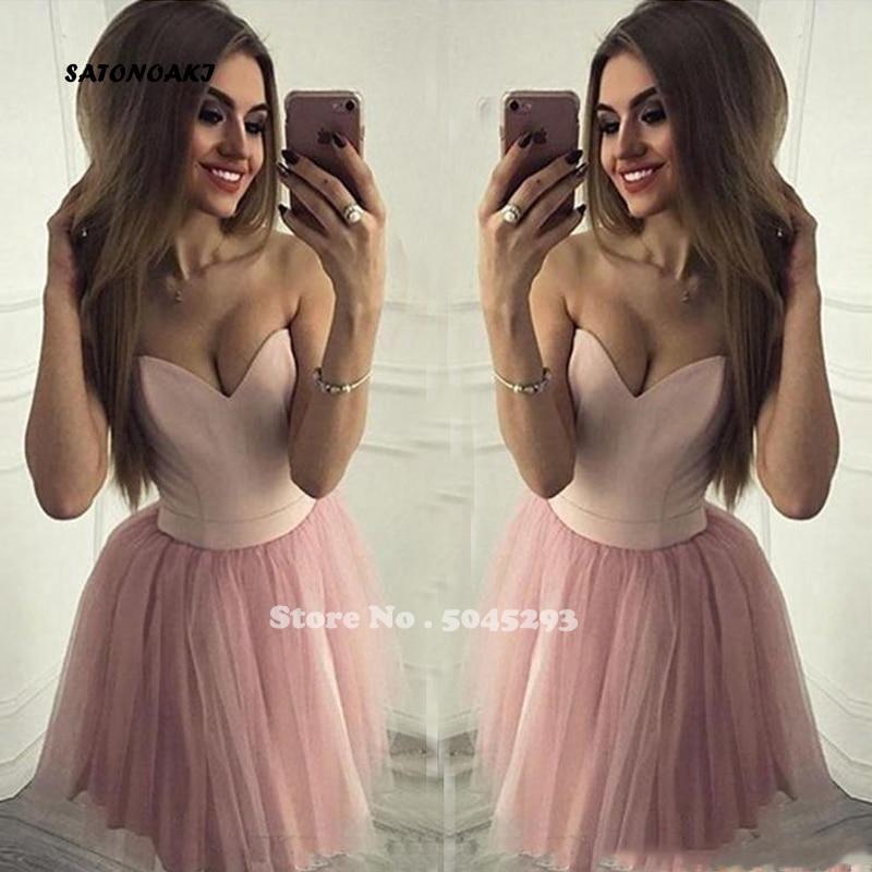 2019 сексуальные милые розовые Бальные платья, без рукавов, а силуэт, тюль, элегантный дизайн, на заказ, простое коктейльное платье