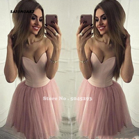 2019 Sexy Sweetheart Pink Homecoming Dresses Sleeveless A Line Tulle Elegant Design Custom Made Simple Cocktail Dress