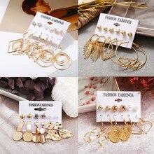 6PCS/Set Irregular Geometric Earring Set For Women 2019 New Fashion Gold Leaf Circle Stud Earrings Female Wedding Jewelry