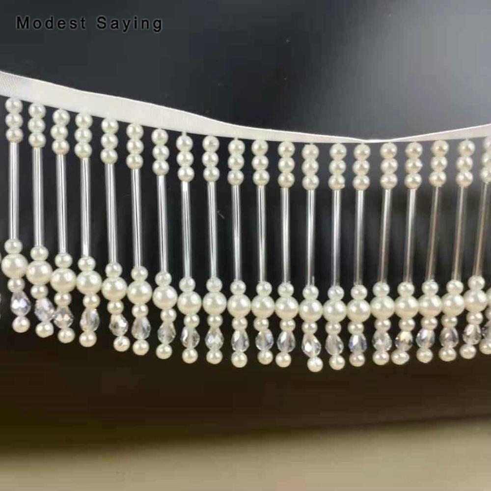 Ivory 8cm Tube Fringe Trim Ribbon Sewing Pearls Tassel Fringe Trimming Latin Dress Evening Gowns Crystal Garment Accessories