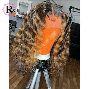 Image 2 - RULINDA Ombre צבע תחרה מול שיער טבעי פאה מתולתל ברזילאי שאינו רמי Hair13 * 4 פאת תחרה עם תינוק שיער התיכון יחס 130% צפיפות