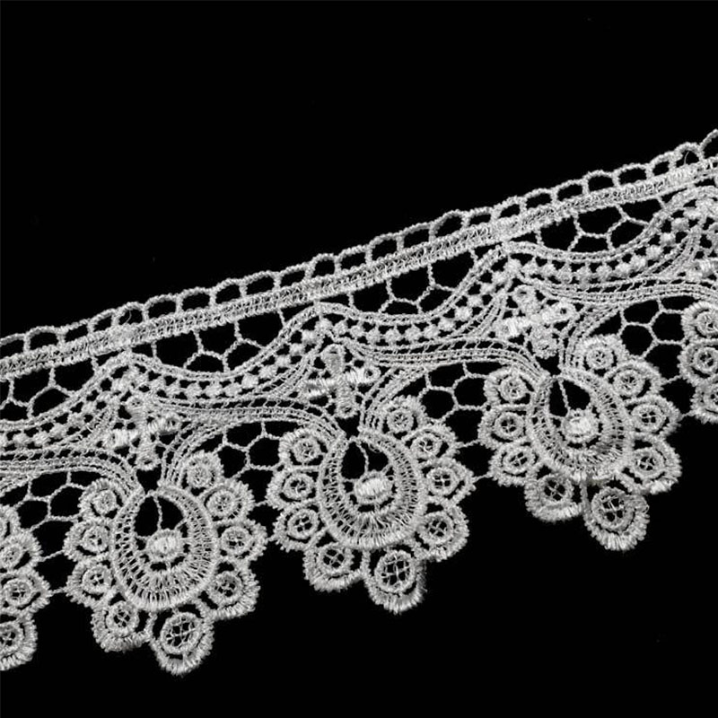 9.5cm Wide HOT White Black Cotton Embroidery Hollow Lace Ribbon Fabric 3D Trim Collar Sewing Bridal Wedding Dress Crafts 100yard