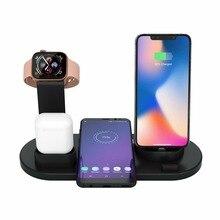 4in1 Bộ Sạc Không Dây Cho Iphone X XS Max XR 8 Tề Nhanh Đế Sạc Cho AirPod Điện Thoại Thông Minh Android Đứng dành Cho Đồng Hồ Apple