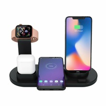 4in1 chargeur sans fil pour iPhone X Xs Max XR 8 QI Station de chargement rapide pour Airpod Android support de Smartphone pour Apple Watch