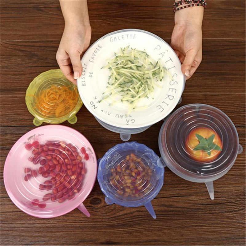 6 ピース/セットキッチンアクセサリーガジェットシリコーン食品蓋ストレッチユニバーサルボウルポットパンフルーツ野菜保存キッチンツール