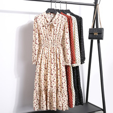 цена на Spring Autumn New Women Chiffon Dress Casual Ruffles Bow Tie Collar Flower Dress Elastic Waist Long Sleeve Mid-calf Bottom Dress
