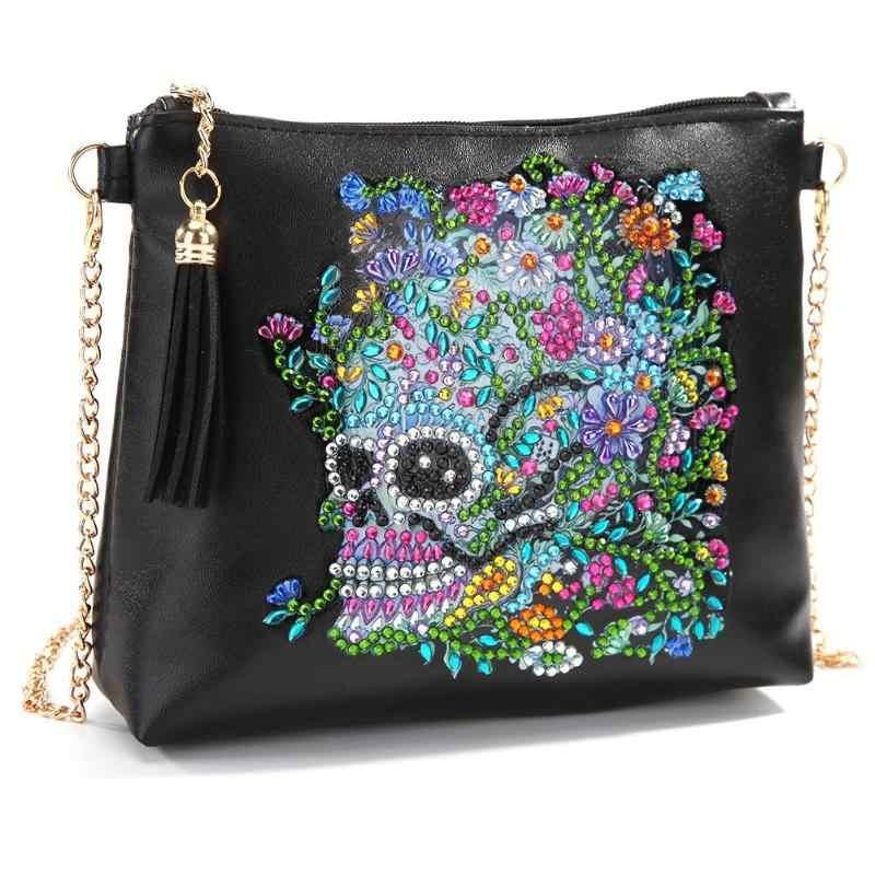 5D креативный дизайн, женская сумка через плечо, сделай сам, Череп, цветок, специальная форма, алмазная живопись, кожаная цепочка, сумки-мессенджеры