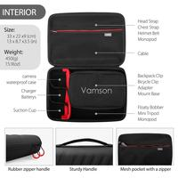 Vamson большой водонепроницаемый чехол PU для Gopro Hero 8/7/6/5 для DJI OSMO экшн-камеры для AKASO/YI Жесткий Чехол для улицы VP808 2