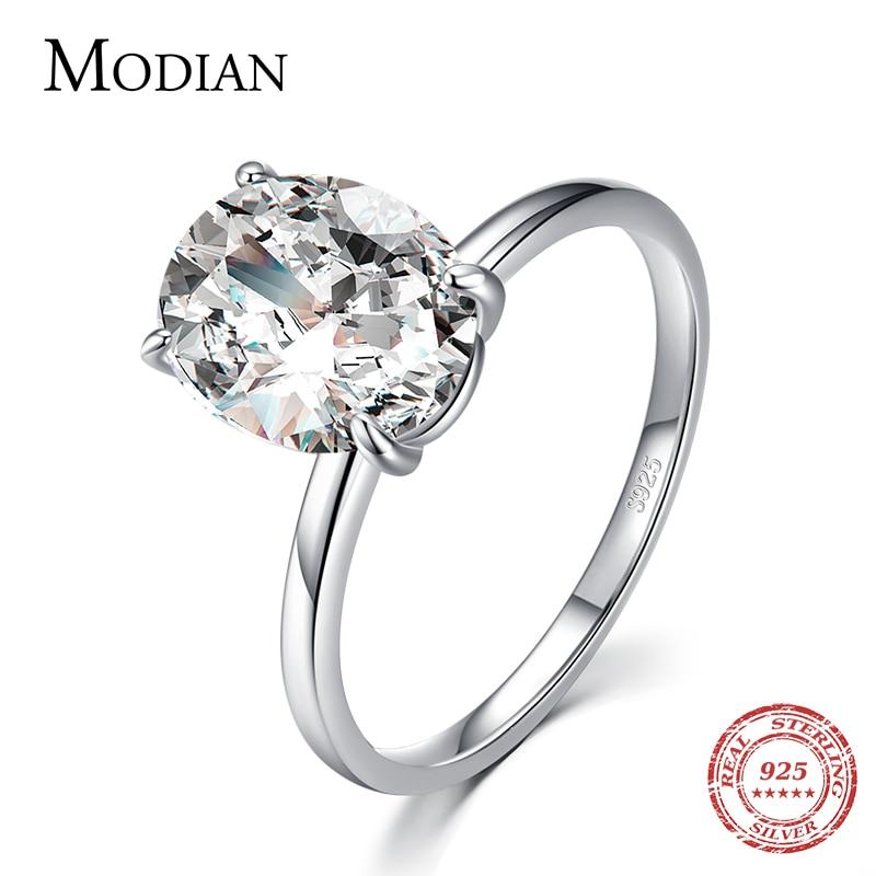Modian basique 925 en argent Sterling grand luxe ovale coupe clair zircone bague pour les femmes fiançailles bague de mariage promesse anneau