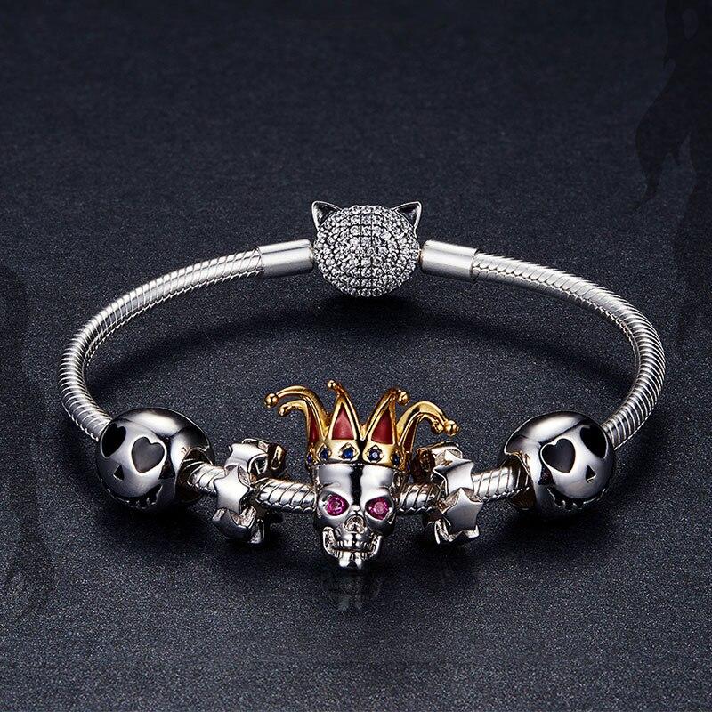 Bamoer 925 Sterling Silver Joker Skull Ghost Beads Charm Fit Original Silver Bracelet Bangle Halloween Festival Collection