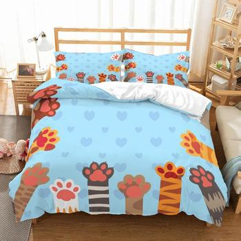 Cute Cats Paw 3D Printed Bedding Set Microfiber Cartoon Bed Linen Set with Pillowcase 2/3pcs Home Bedding AU/US/EU Size Bed Set 1