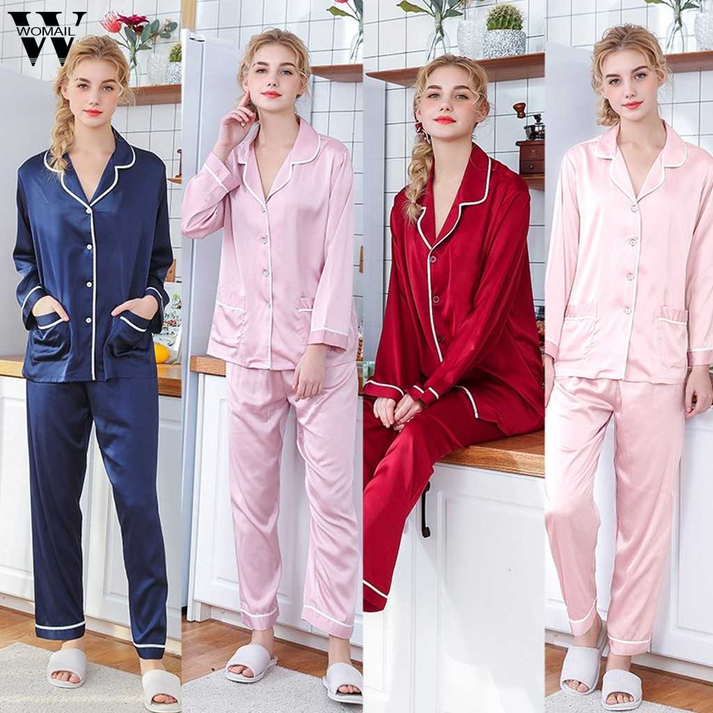 Womail Bộ Đồ Ngủ Lụa cho Người Phụ Nữ Giải Trí Ma'am Đồ Mặc Nhà quần áo Bé Gái dài tay đồ ngủ nữ gợi cảm Homewear P923