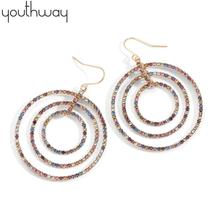 Rainbow Rhinestone earrings Geometric multi Circle Colored Crystal Drop Earrings for Women girls Spring holiday  Jewelry charming geometric colored artificial gem rhinestone fake collar necklace and earrings for women