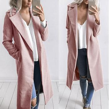Winter Women Trench Coat Casual Lapel Collar Open Stitch Woolen  Female Coat Fashion Warm Pocket Solid Plus Size Long Outwear 4