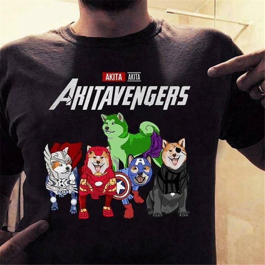Akita Inu Avengers Akitavengers Endgame T Shirt Black Cotton Men S-6Xl Us Stock Newest Fashion Tee Shirt
