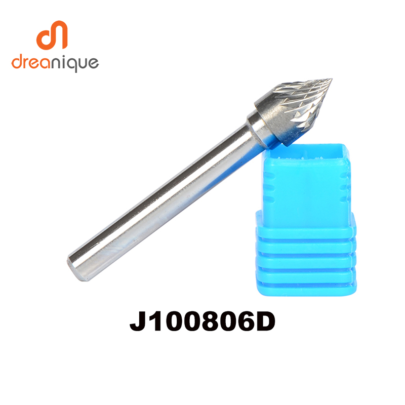 2pcs/lot J100806D Tungsten Carbide J Cone 60 Degree 10*8mm Rotary Burr File Cutter Grinding And Abrasive 6mm Shank Milling Tools