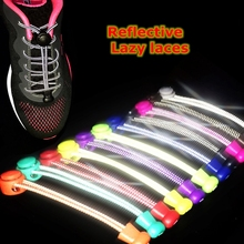 1 Pair Reflective Shoelaces Elastic No Tie Shoe laces Round Stretching Locking Shoelace Leisure Sneakers Quick Lazy