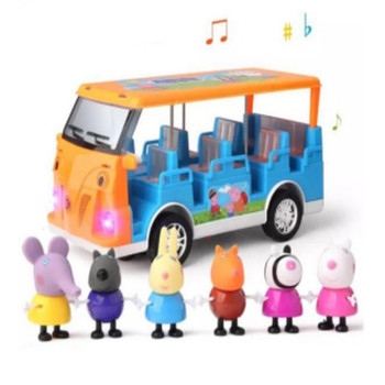 Peppa Pig School Bus With Light Music And Steering Function Family Education Kids Toys Action Figure Children Birthday Gifts peppa pig the wheels on the bus board book