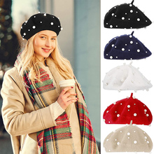 2021 New arrivals Trendy Princess Kids Girls Berets Caps Lovely Pearl Beanies Hats Spring Autumn Winter Toddler Girls Hats