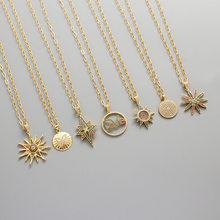 Exaggerated style Necklace For Women Stainless Steel Gold Sun And Moon Flower Round Pendant Necklace Boho Jewelry Collier 2021