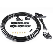 DIY Misting Cooling System 6M Hose 6 Tees 8 Brass Nozzles For Garden Patio WaterPark Greenhose Water Sprayer