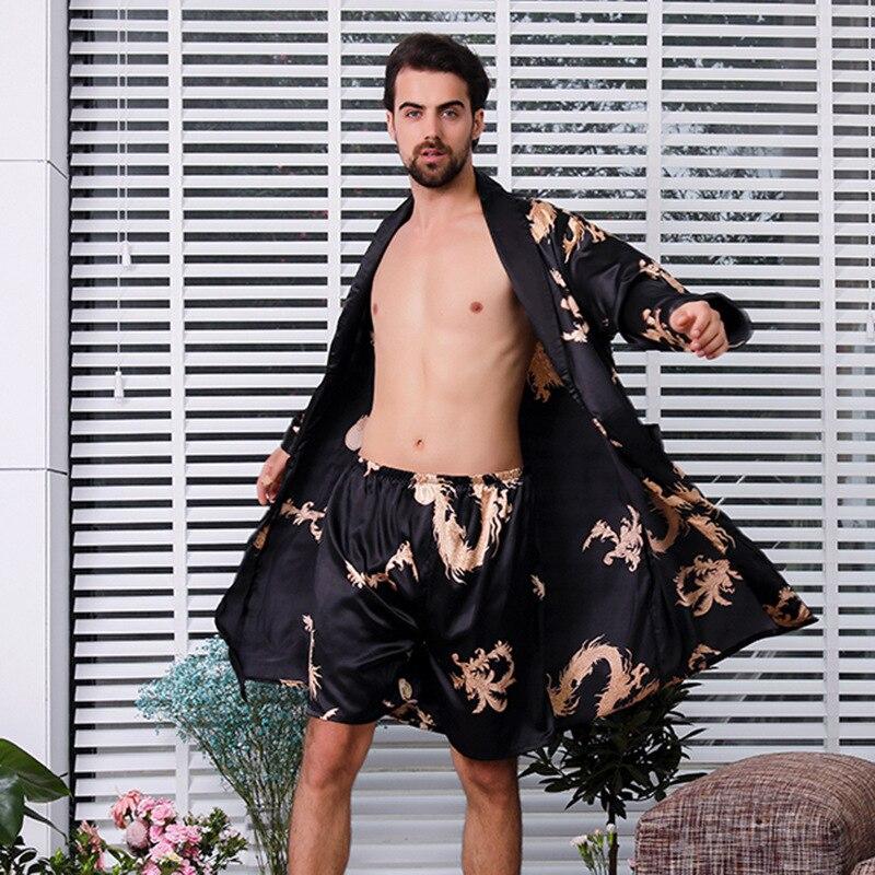 Kimono Men Sexy Robe Two Piece Set Emulation Silk Bathrobe Shorts Pajamas Soft Cozy Thin Long-sleeved Bath Gown Large Size M-7XL