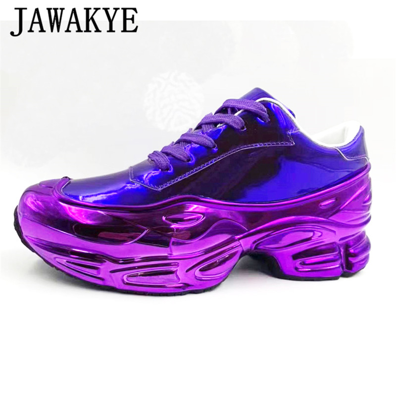 Real Leather Thick Platform Causal Shoes Women Lace Up Flat Heel Shiny Mirror Hot Selling Breathable Sneakers Daddy Shoes Female