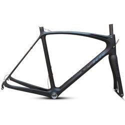 最後 53 54 56 59 センチメートル新カーボンロードバイクフレーム道路サイクリング自転車フレームセットブランドフレームクリアランスフレームとフォークカーボンフレーム