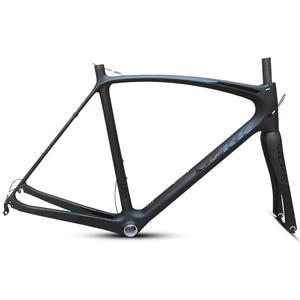 Image 1 - Son 53 54 56 50cm yeni karbon yol bisiklet iskeleti yol bisiklet bisiklet frameset marka çerçeve açıklığı çerçeve çatal ile karbon çerçeve