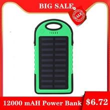 Топ солнечное зарядное устройство водонепроницаемый 12000 мАч Солнечное зарядное устройство 2 usb порта Внешнее зарядное устройство банк питания для Xiaomi Mi iPhone 8 смартфон